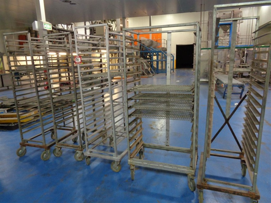 5 x Mobile Trolley. Used as cooling/drying racks.