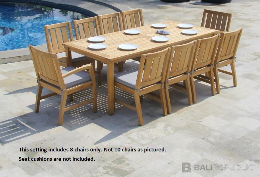 1 x Luxurious KUBU 9 Piece Outdoor Dining Setting by Bali Republic