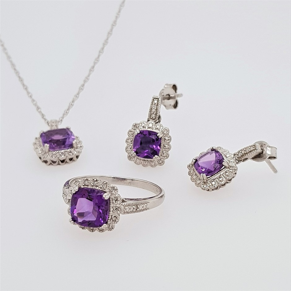 Sterling Silver Amethyst and Diamond ring, necklace and earring set