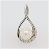 Sterling Silver Pearl and Zirconia pendant