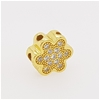Yellow Gold Plated Sterling Silver Zirconia flower charm or pendant.