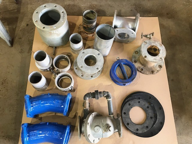 Pallet of Various Pipe Fittings, Valves, Couplings, Seals, etc.