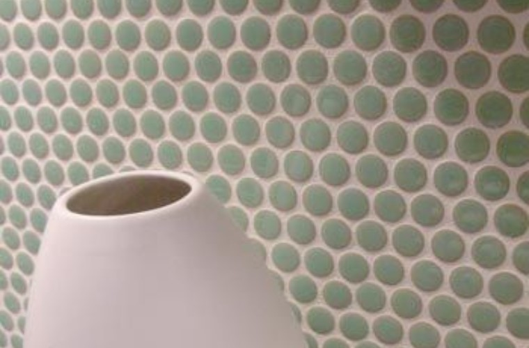 Penny Round Gloss Sea Green 19mm x 5.5mm Mosaic Tiles, 4 Boxes, 7.4m²