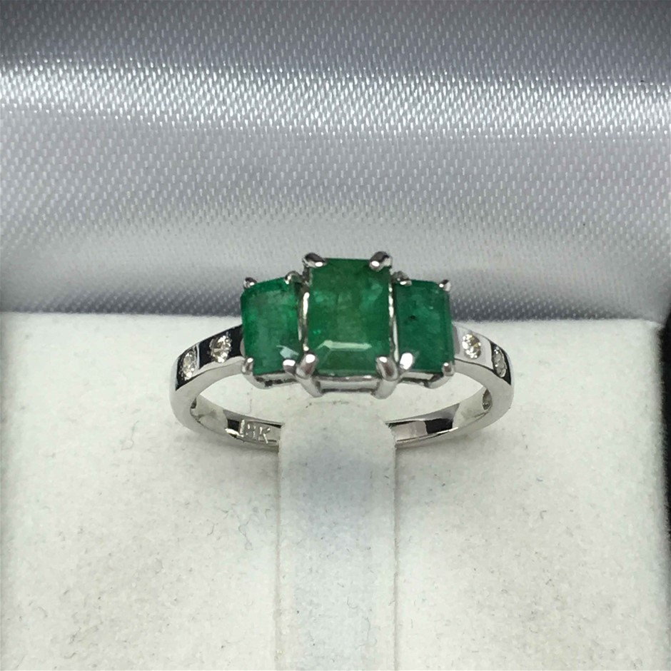 18ct White Gold, 1.76ct Emerald and Diamond Ring