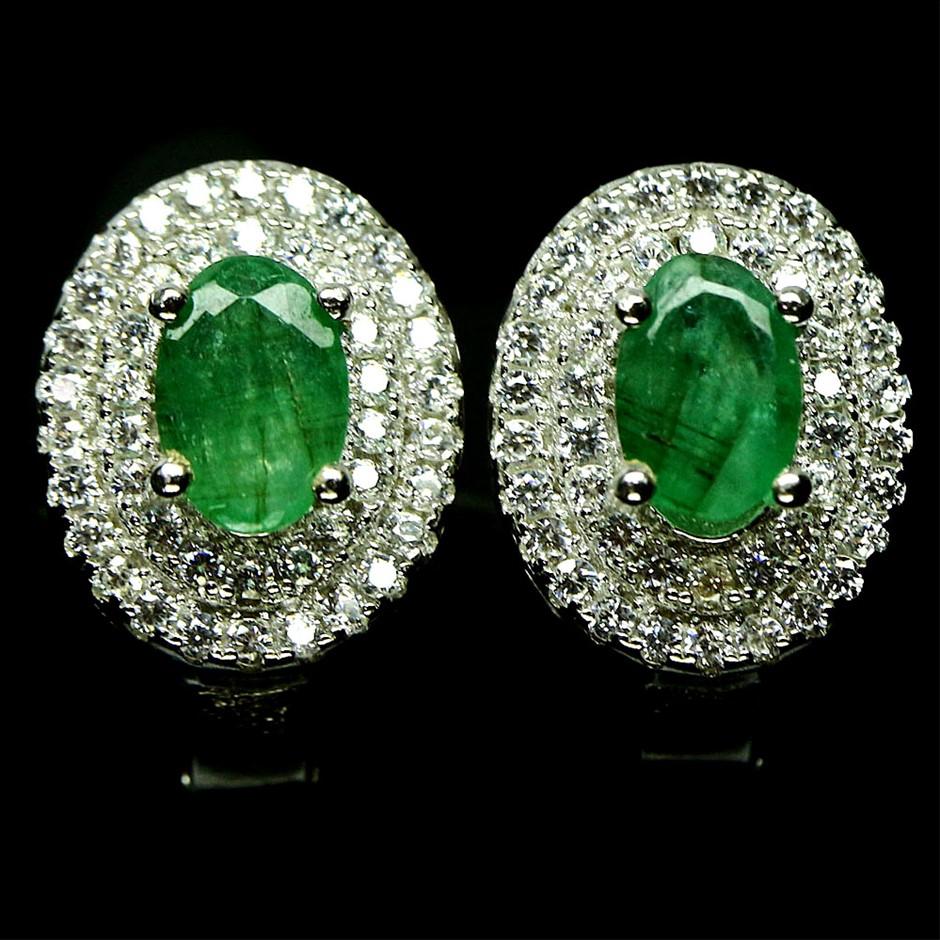 Striking Genuine Emerald Huggie Earrings.