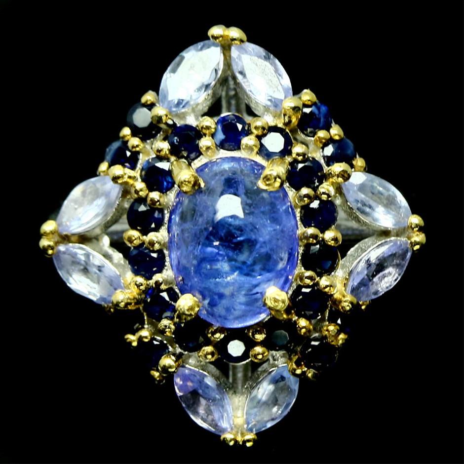 Stunning Genuine Sapphire & Tanzanite Ring
