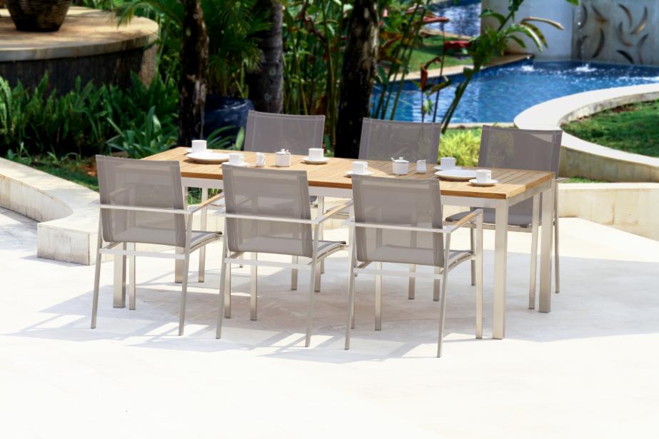 1 x Renon/Nusa Dua 8 Seat Setting with White Sling Chairs by Bali Republic