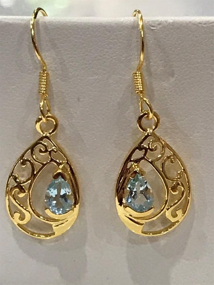 Eye Catching Blue Topaz & 18K Gold Vermeil Earrings