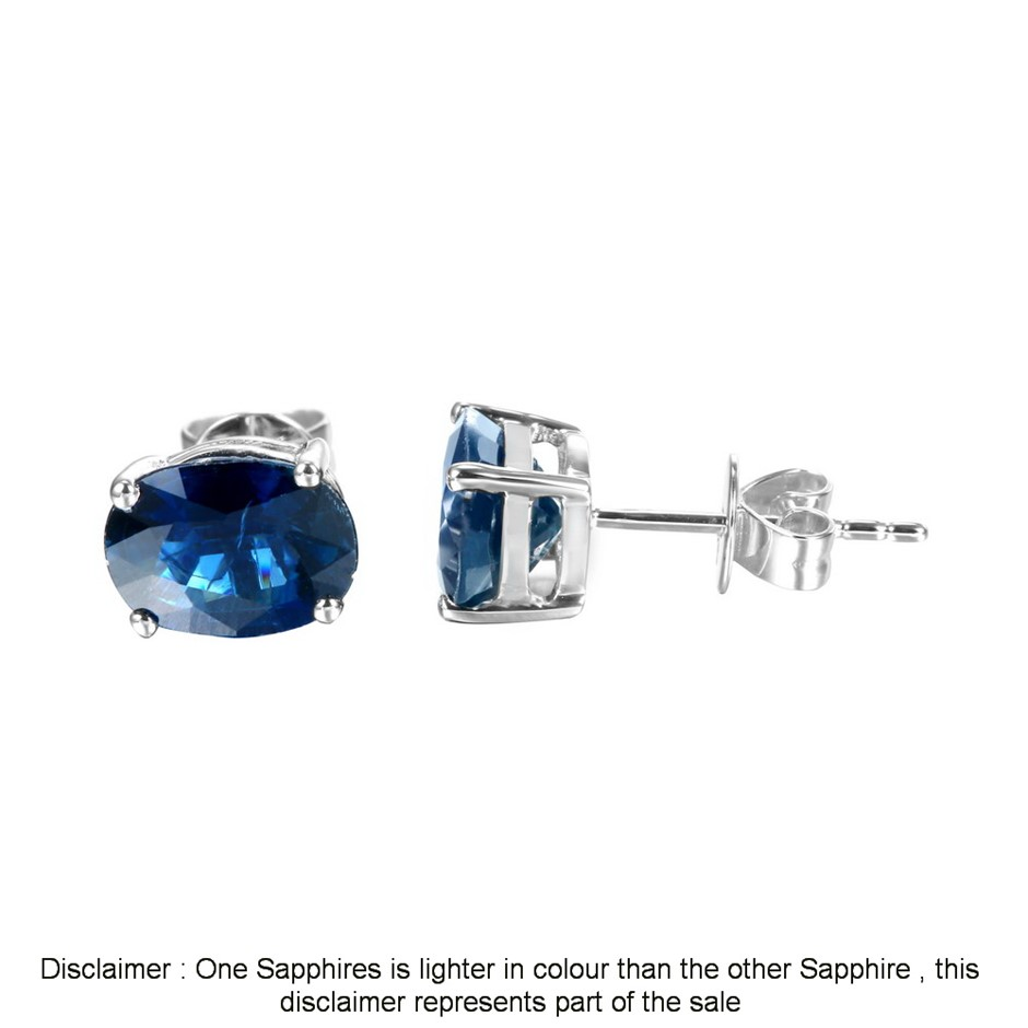 9ct White Gold, 3.13ct Blue Sapphire Earring