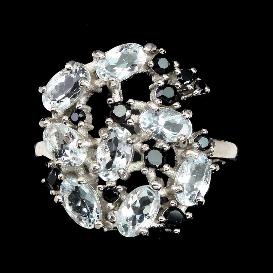 Gorgeous Genuine Aquamarine & Spinel Cluster Ring