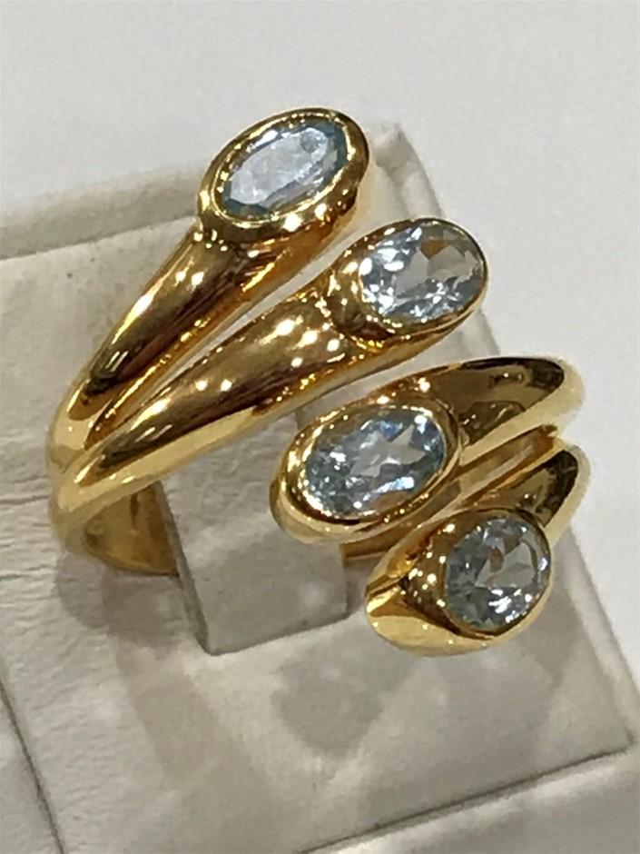Stunning 2.28ct Blue Topaz & 18K Gold Vermeil Size P 1/2 (8)