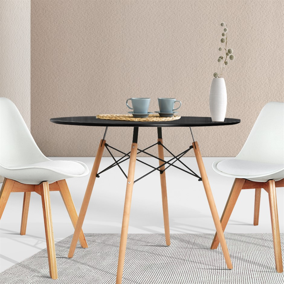 Artiss Round Dining Table 4 Seater 90cm Black Retro Timber Wood MDF Tables