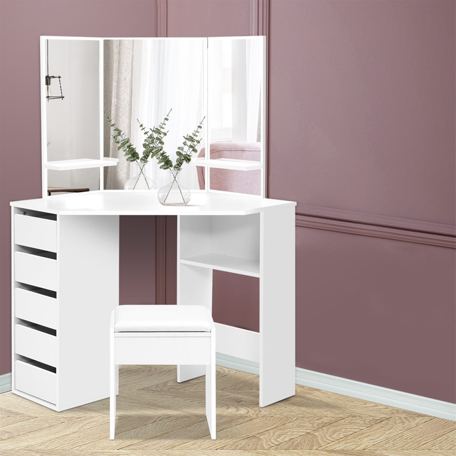 Artiss Corner Dressing Table With Mirror Stool White Mirrors Makeup Tables