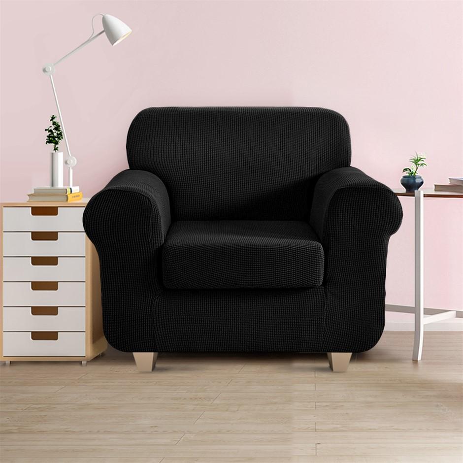 Artiss 2-piece Sofa Cover Elastic Stretch Protector 1 Seater Black