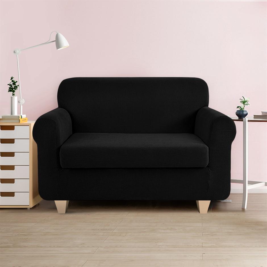 Artiss 2-piece Sofa Cover Elastic Stretch Protector 2 Seater Black