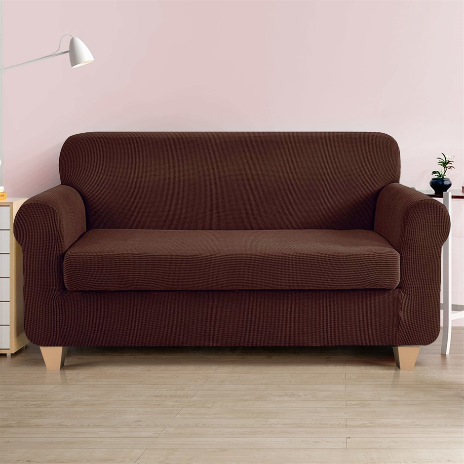 Artiss 2-piece Sofa Cover Elastic Stretch Protector 3 Seater Coffee