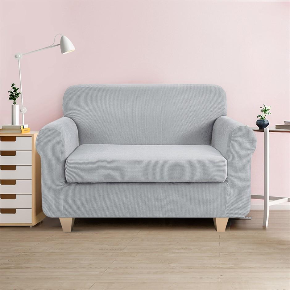 Artiss 2-piece Sofa Cover Elastic Stretch Protector 2 Seater Grey