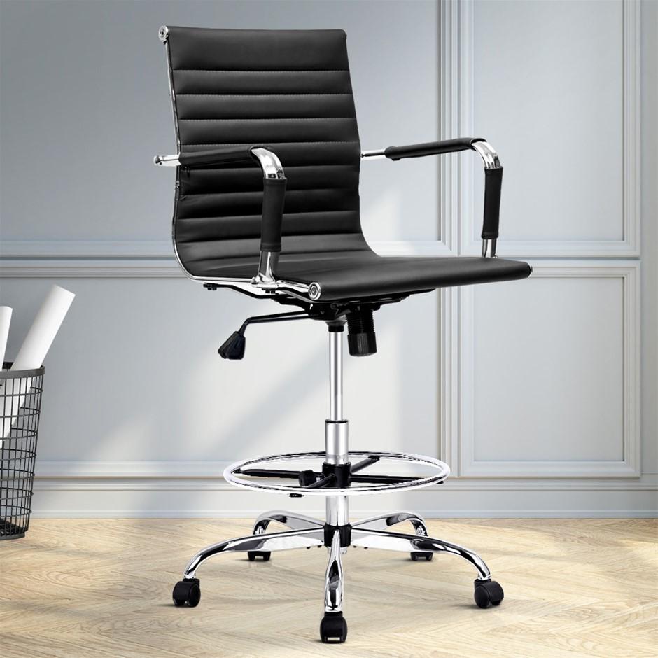 Artiss Office Chair Drafting Stool Mesh Chairs Armrest Standing Desk Black