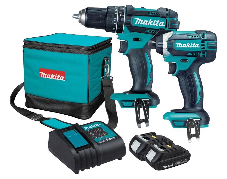 MAKITA 2pc 18V Combo Kit c/w Hammer and Driver Drill. 2 x Batteries & Charg