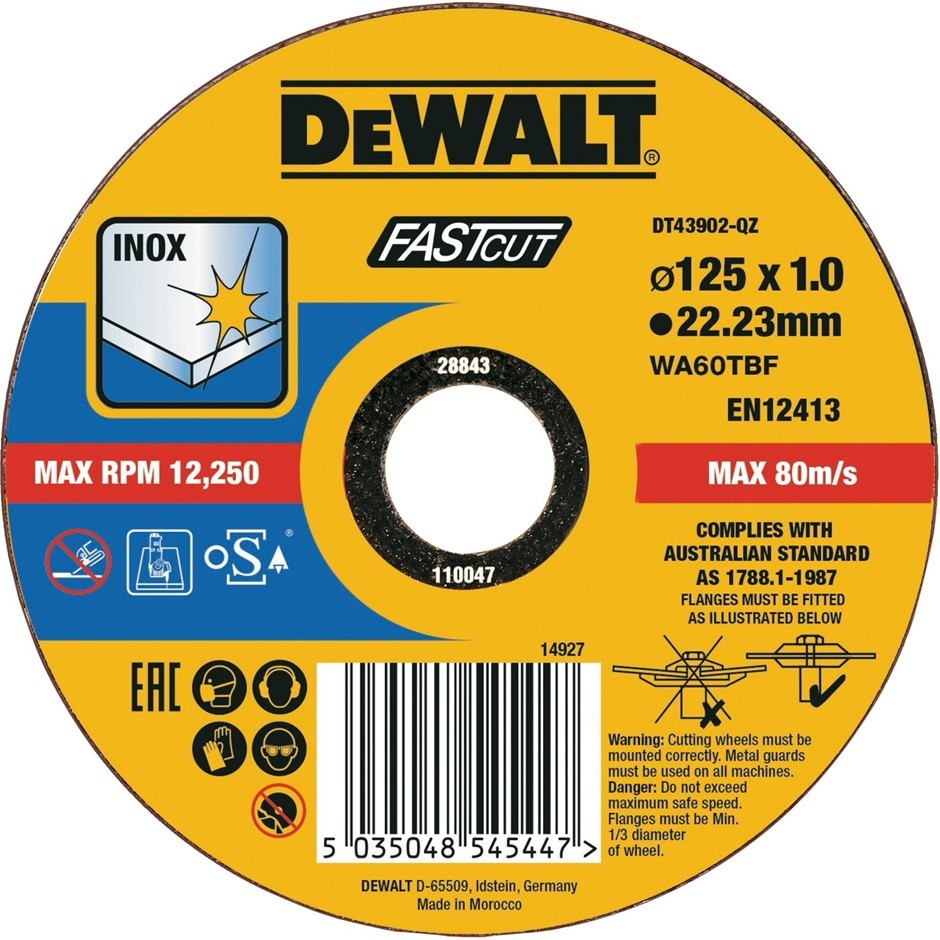 DeWALT Cutting Disc 125 x 1 x 22.23mm Buyers Note - Discount Freight Rates