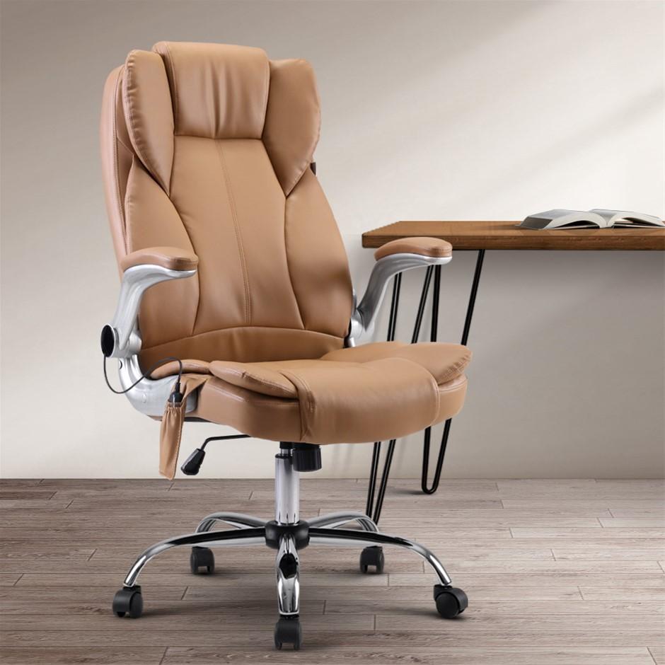 Artiss Massage Office Gaming Computer Desk Chair 8 Point Vibration Espresso