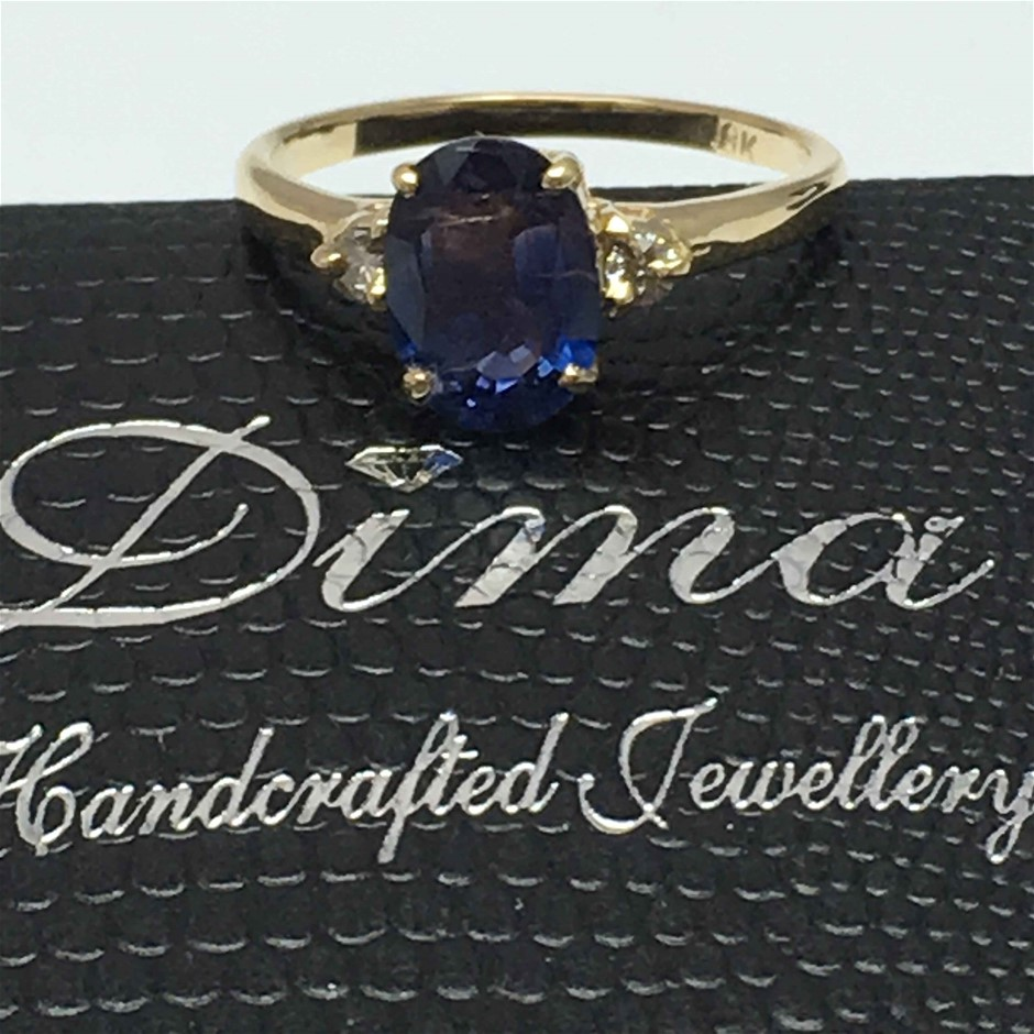 18ct Yellow Gold, 2.12ct Sapphire and Diamond Ring