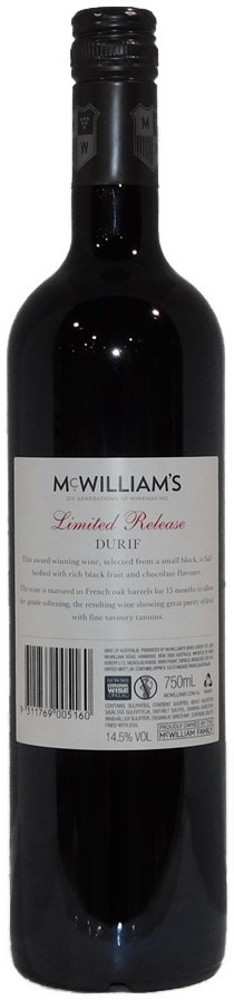 McWilliams Limited Release Durif 2015 (12x 750mL) SEA.
