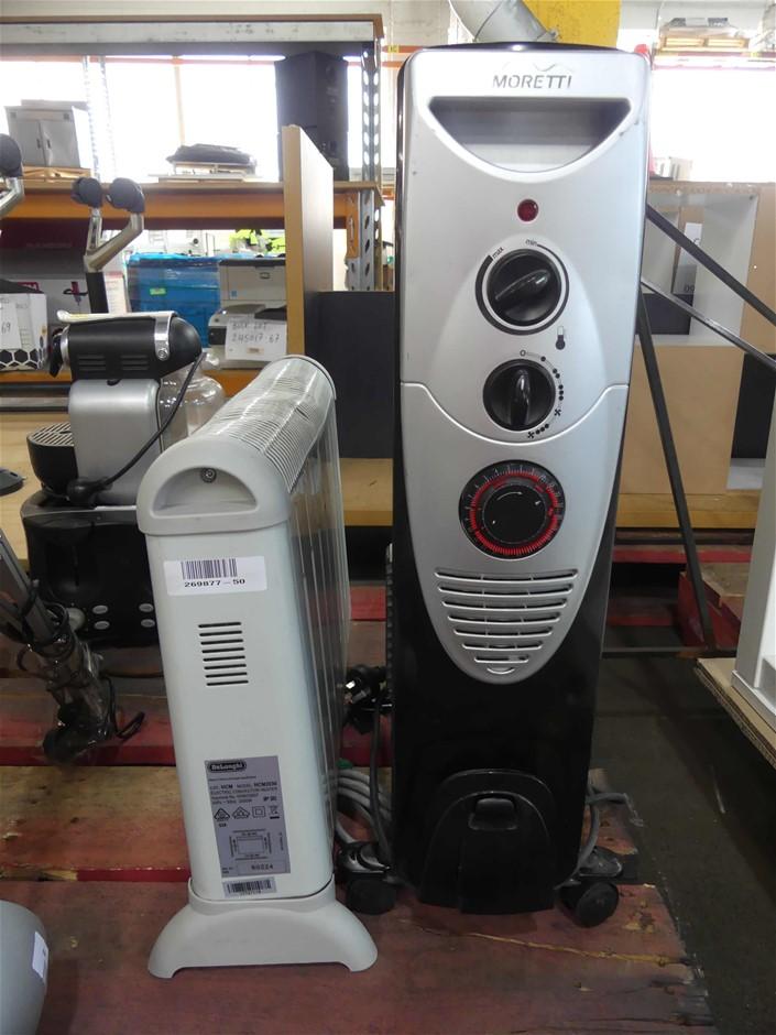 1 X Moretti 7-Fin Column Oil Heater & 1 X Delonghi Elect.Convector Heater