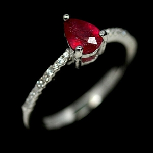 Beautiful Ruby Solitaire Ring.