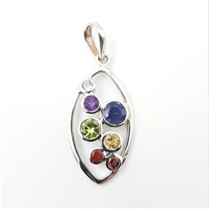 Sterling Silver & Multi Gemstone Pendant