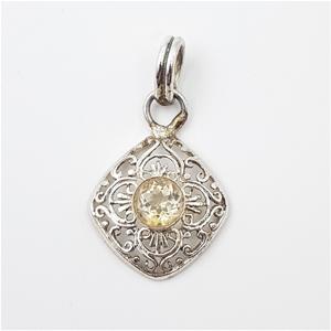 Sterling Silver Filigree & Gemstone Pend