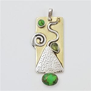 Sterling Silver, Brass & Gemstone Abstra