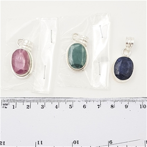 3 x Sterling Silver & Faceted Gemstone P