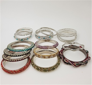 Collection Of 21 Crystal Bangles. Differ