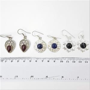 Silver Tone & Gemstone Earrings x 3 Pair