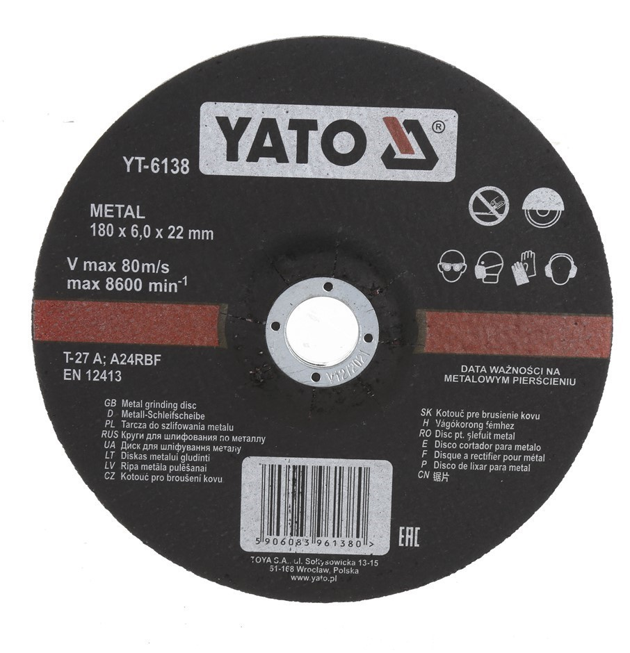 5 x YATO Metal Grinding Discs 180 x 6.0 x 22mm. Buyers Note - Discount Frei