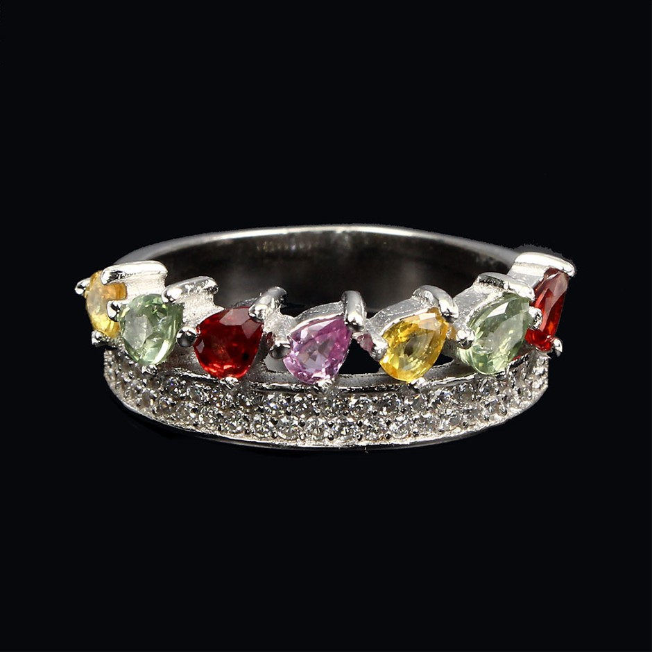 Gorgeous Fancy Coloured sapphire Crown Ring