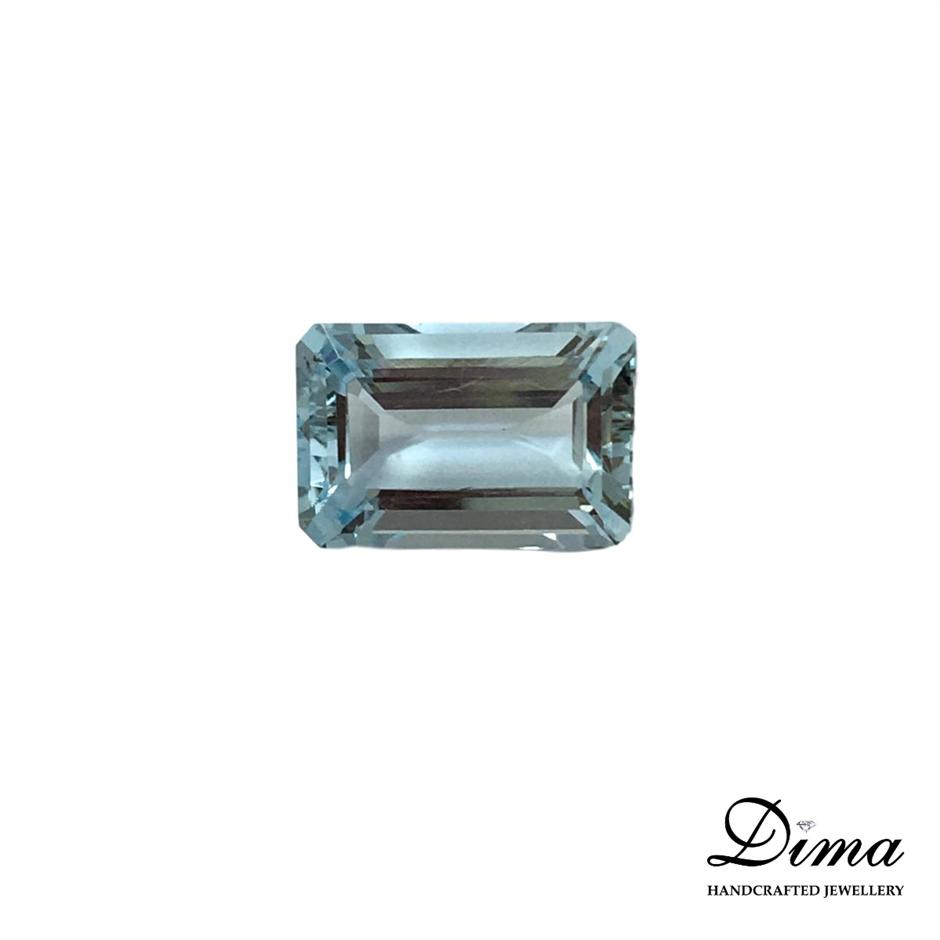 One Stone Aquamarine Emerald Cut 1.84ct in Total