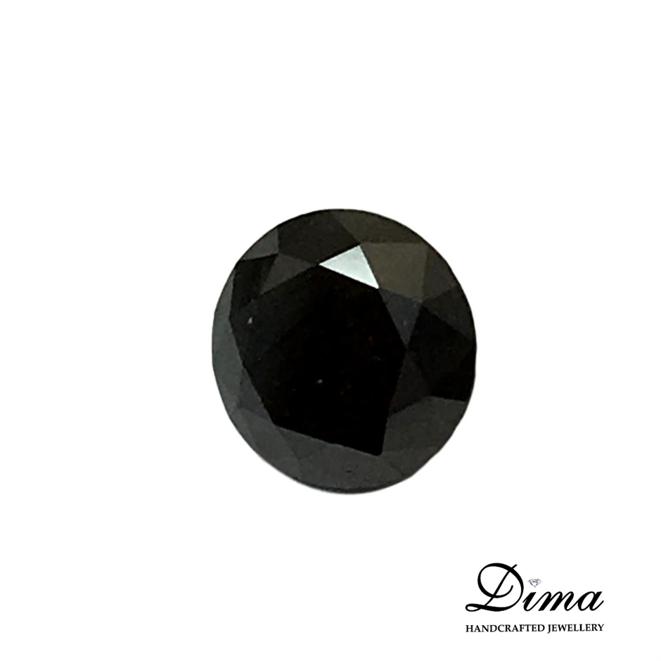 One Stone Black Diamond Round 0.57ct in Total