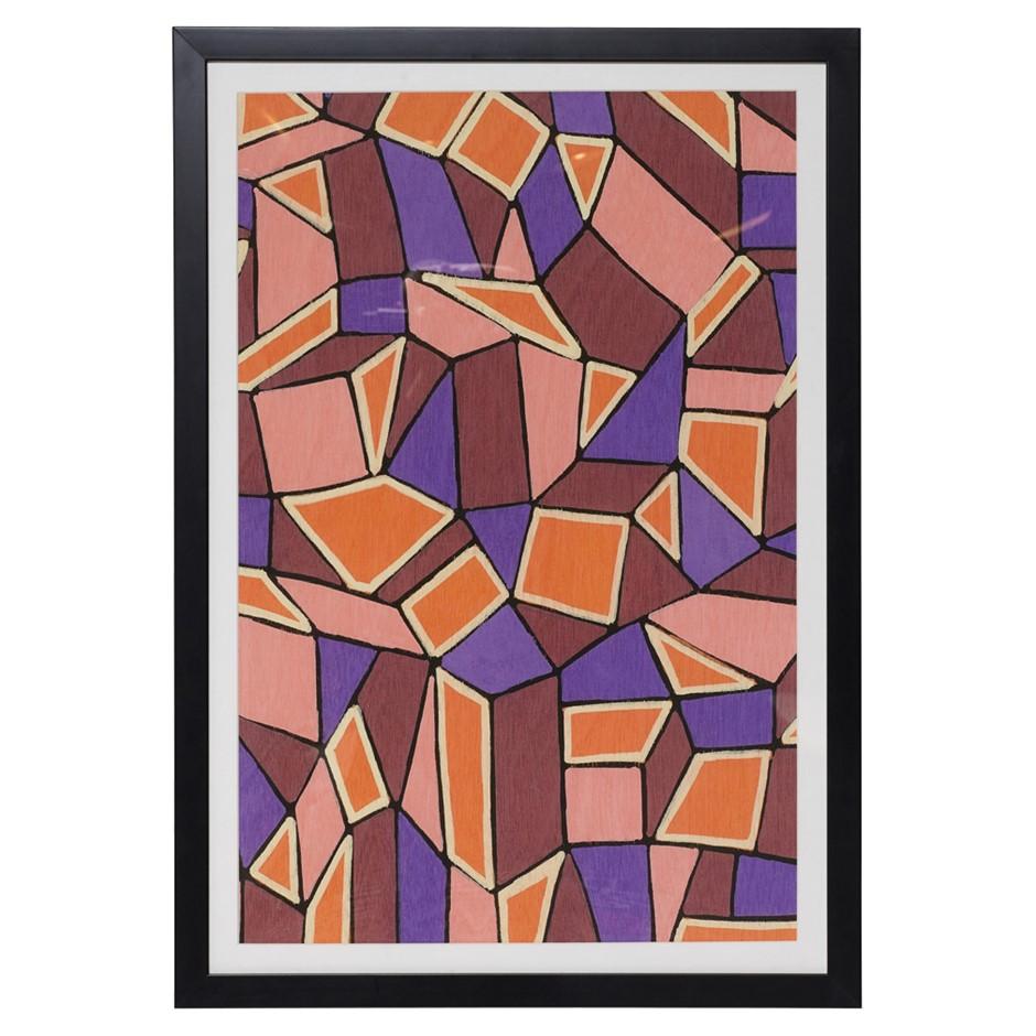 ORIGINAL Avril GilmoreTicky Tacky PurpleFramed Print Black Frame