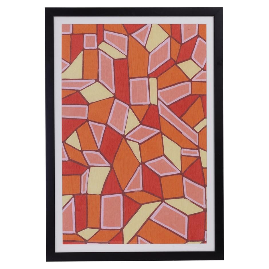 ORIGINAL Avril GilmoreTicky Tacky OrangeFramed Print Black Frame