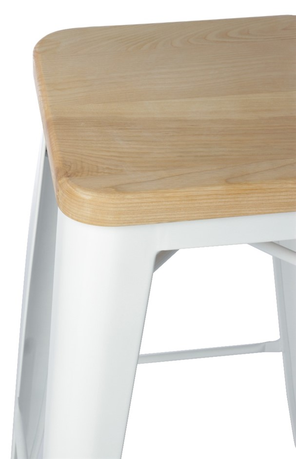 Replica Tolix Stool 75cm White With Wooden Seat