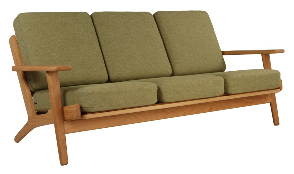 Replica Plank 3 Seater Tweed Light Green Fabric Cushions Oak Frame