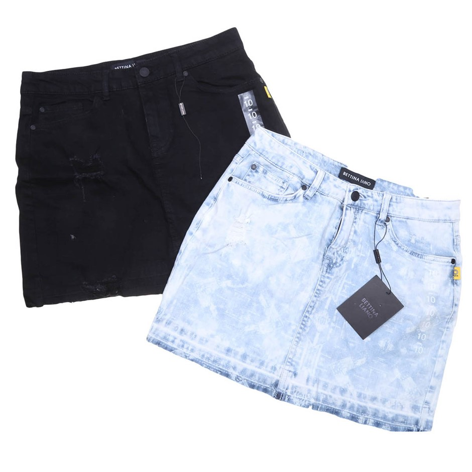 2 x BETTINA LIANO Denim Skirts, Size 10, Light Blue Print & Black. . (SN:CC