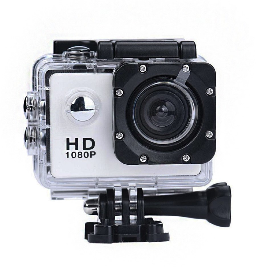 Sports Camera 1080P White Waterproof Complete