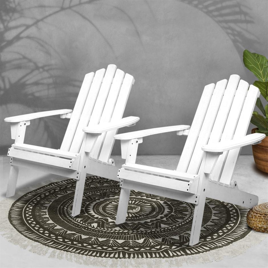 Gardeon Patio Chairs Wooden Adirondack Garden Lounge Recliner 2PC White