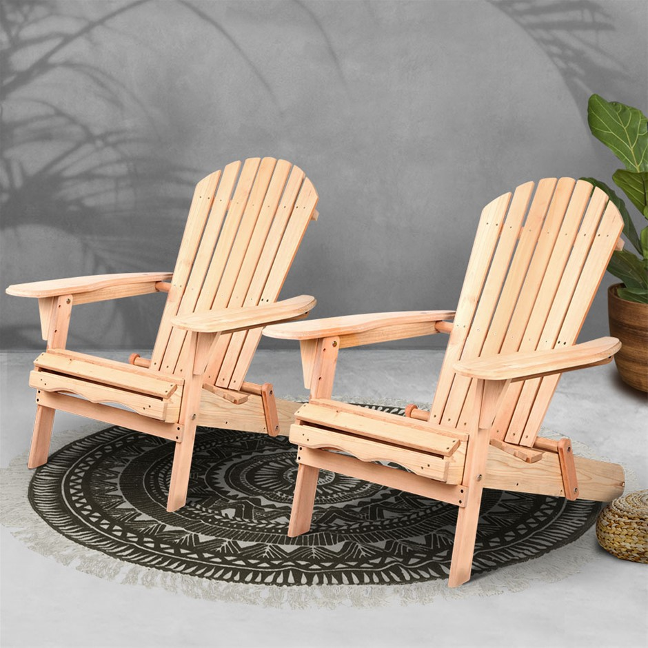 Gardeon Patio Chairs Wooden Adirondack Recliner Garden Lounge 2PC