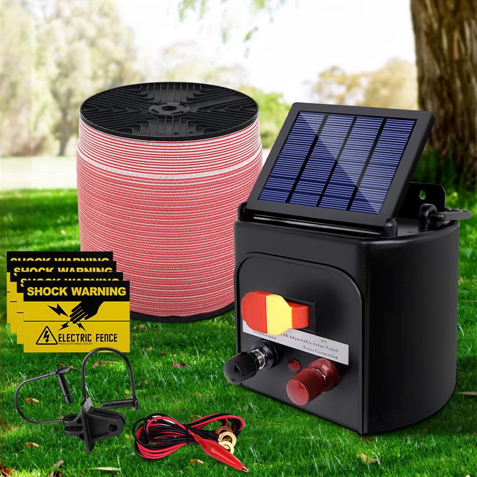 Giantz 5KM Solar Electric Fence Energiser + Electrical Fencing Wire Tape