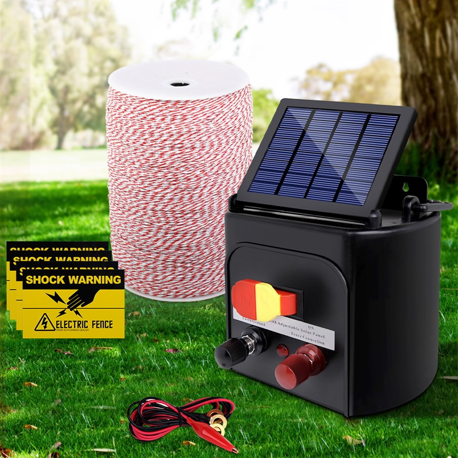 Giantz 3KM Solar Electric Fence Energiser + Fencing Wire Tape