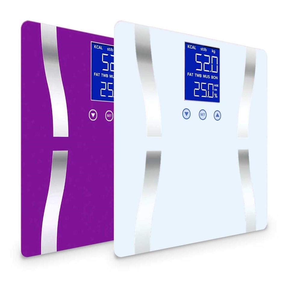 SOGA 2 x Digital Body Fat Bathroom Scales Weight Gym LCD Purple/White